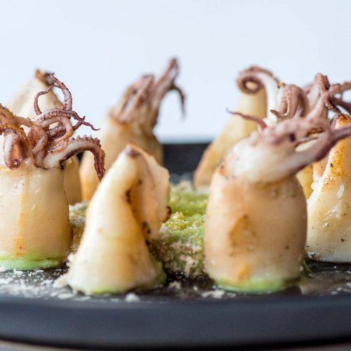 Calamares a la plancha con butifarra esparracada y setas
